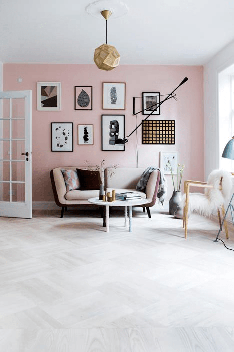 pastel gallery wall