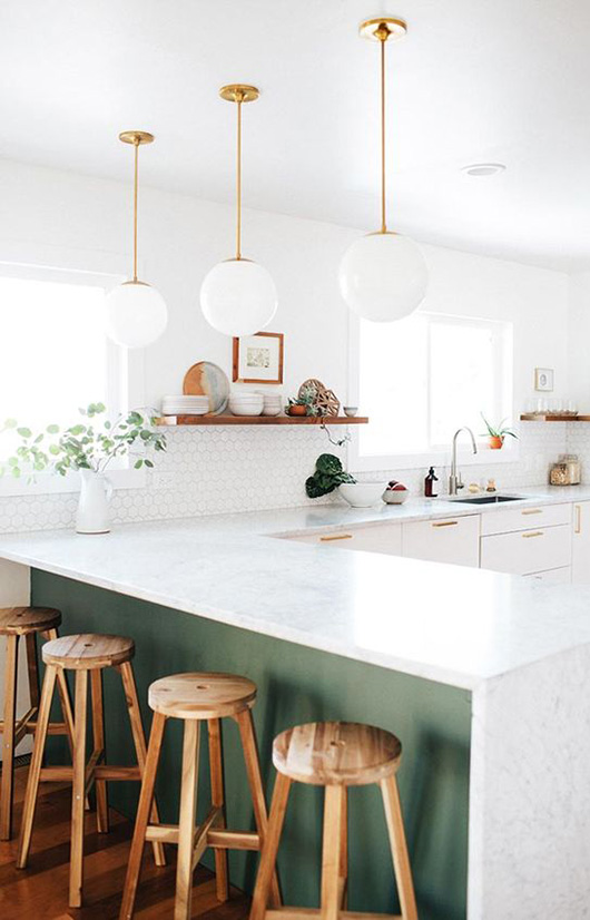 white kitchen with green paint