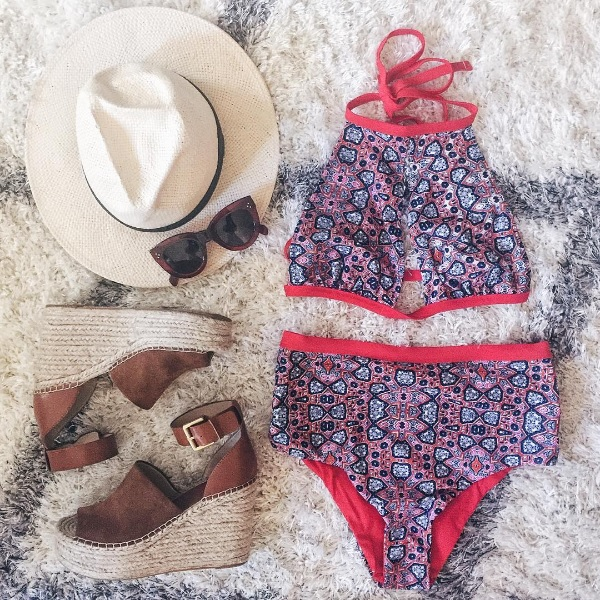 minkpink bathing suit and marc fisher wedges