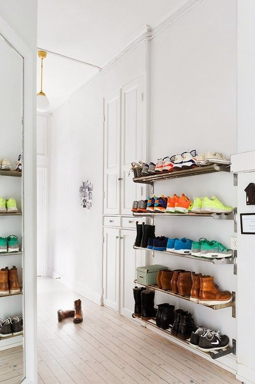 colorful shoes on shelf