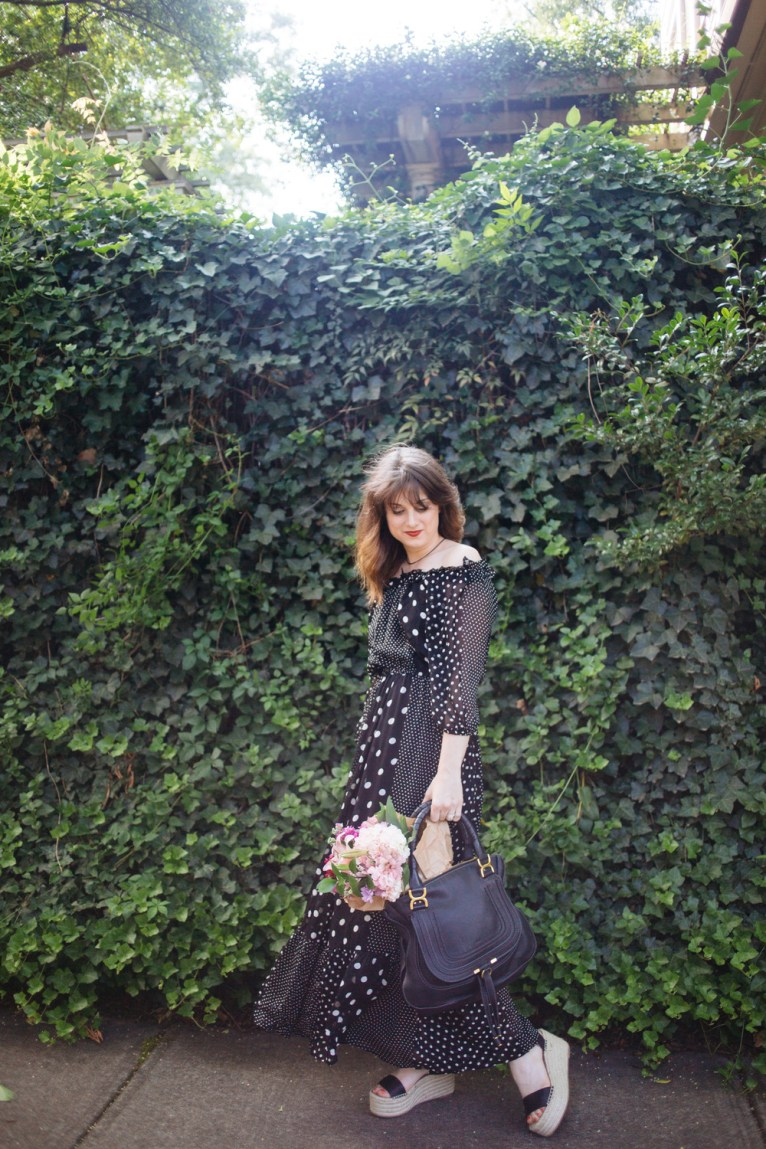 Polka Dot Off the Shoulder Maxi Dress || @polishedclosets