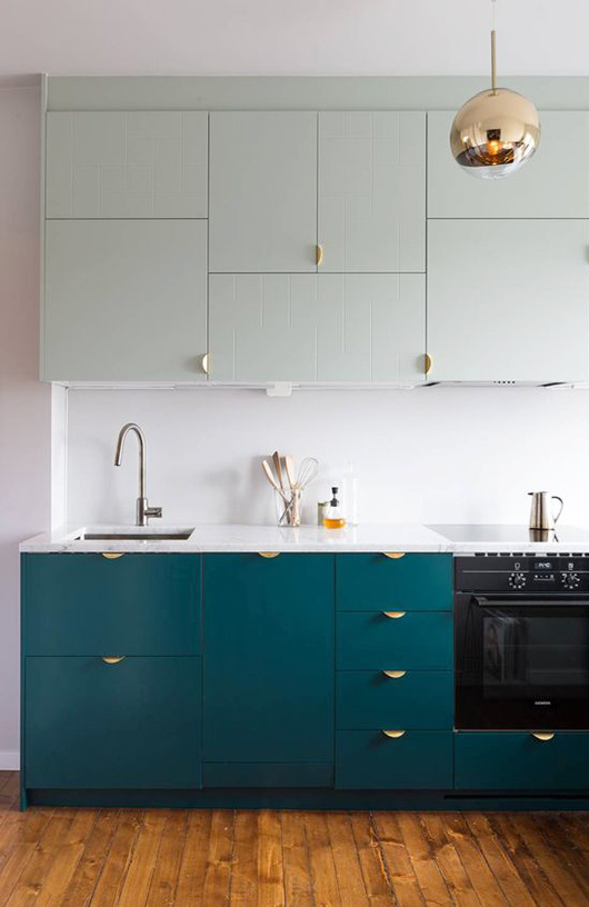 teal kitchen cabinets