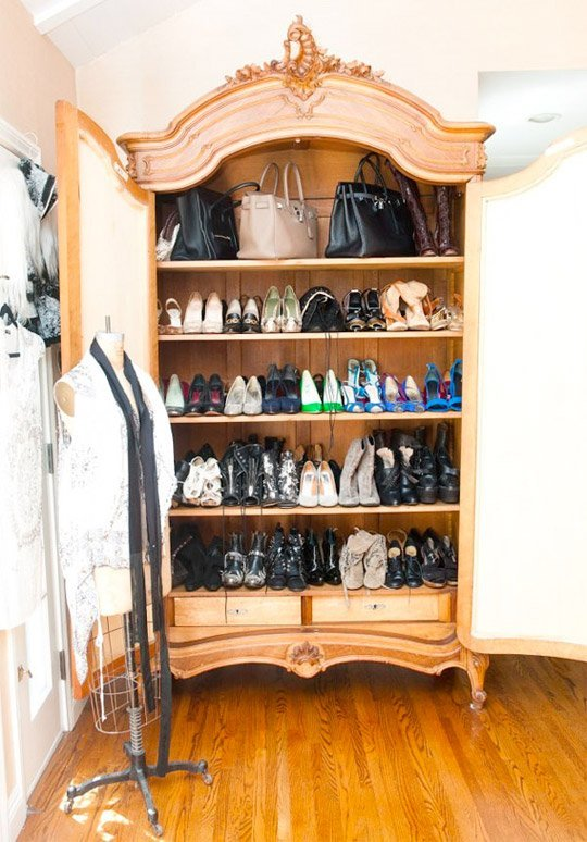 handbags in armoire