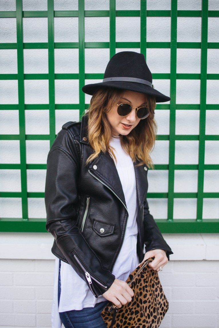 black leather jacket and black hat // www.polishedclosets.com