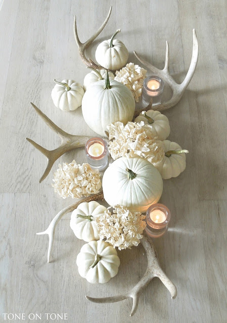 White Antler and Pumpkin Centerpiece for Fall