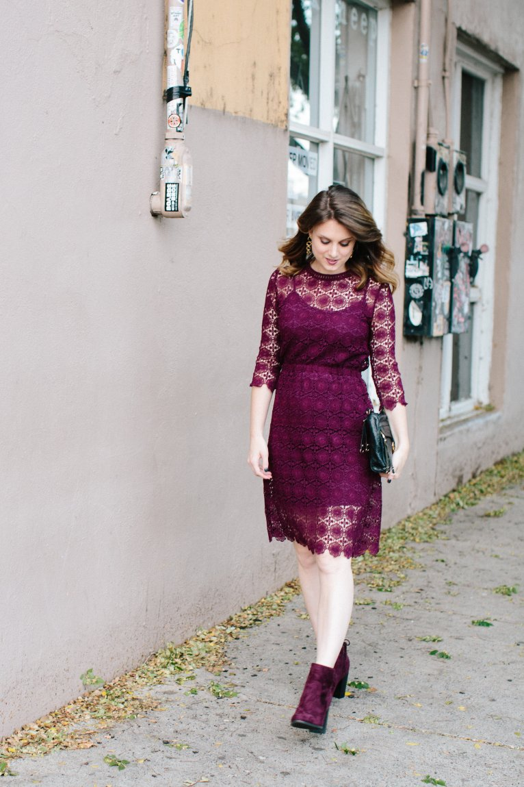 Chicwish burgundy lace dress // www.polishedclosets.com