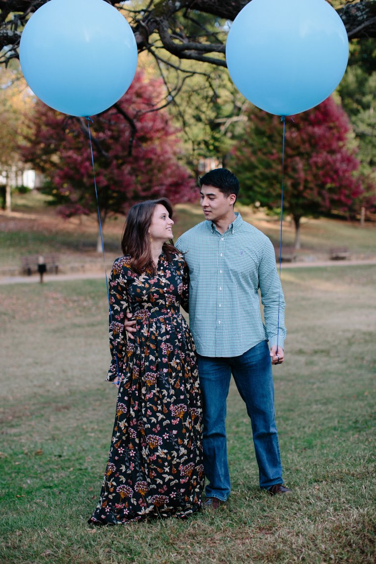 Fall Gender Reveal with Balloons
