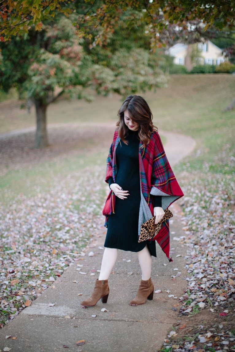 Plaid Cape and Midi Dress