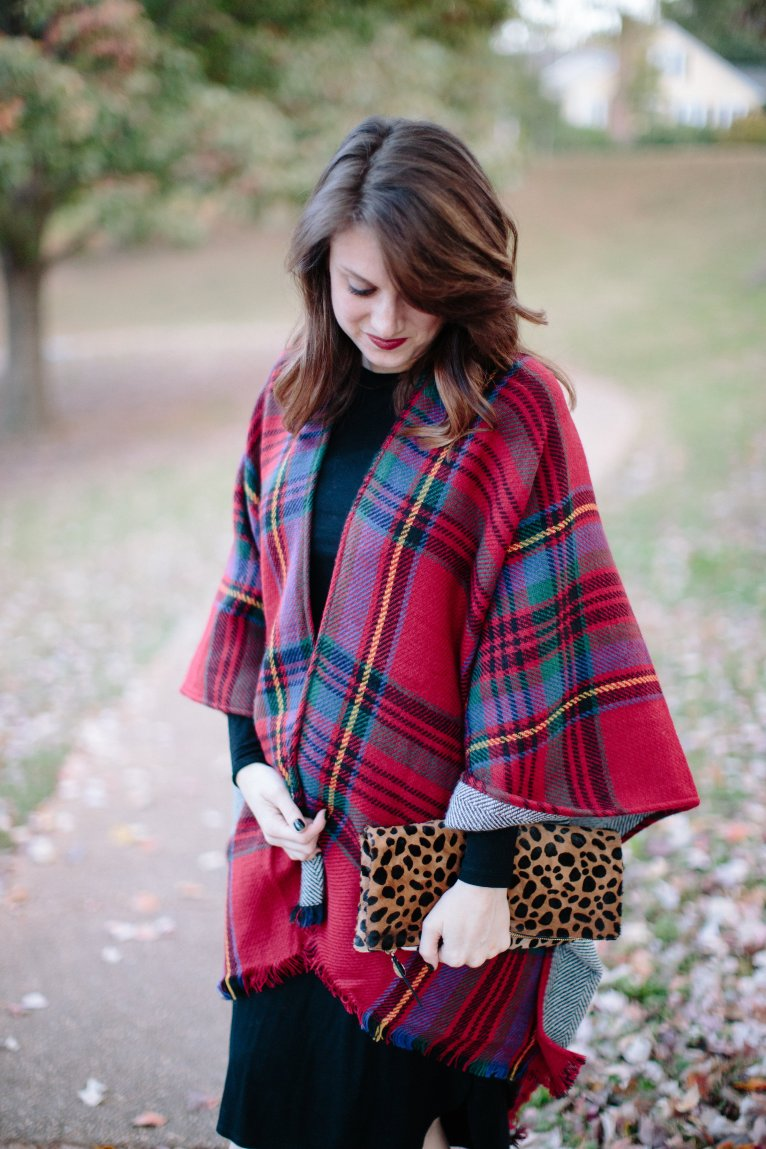 Red Plaid Cape // www.polishedclosets.com