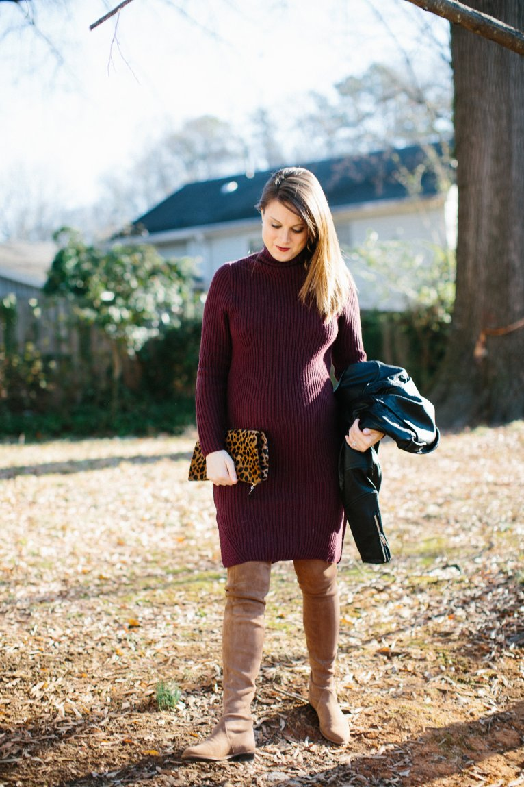 Sweater Dress for Maternity Style / www.polishedclosets.com