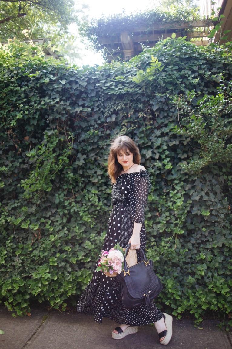 polka dot off the shoulder maxi dress // www.polishedclosets.com