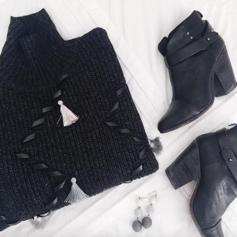 black chicwish tassel sweater // www.polishedclosets.com