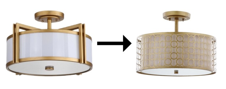gold flush mount ceiling light // www.polishedclosets.com