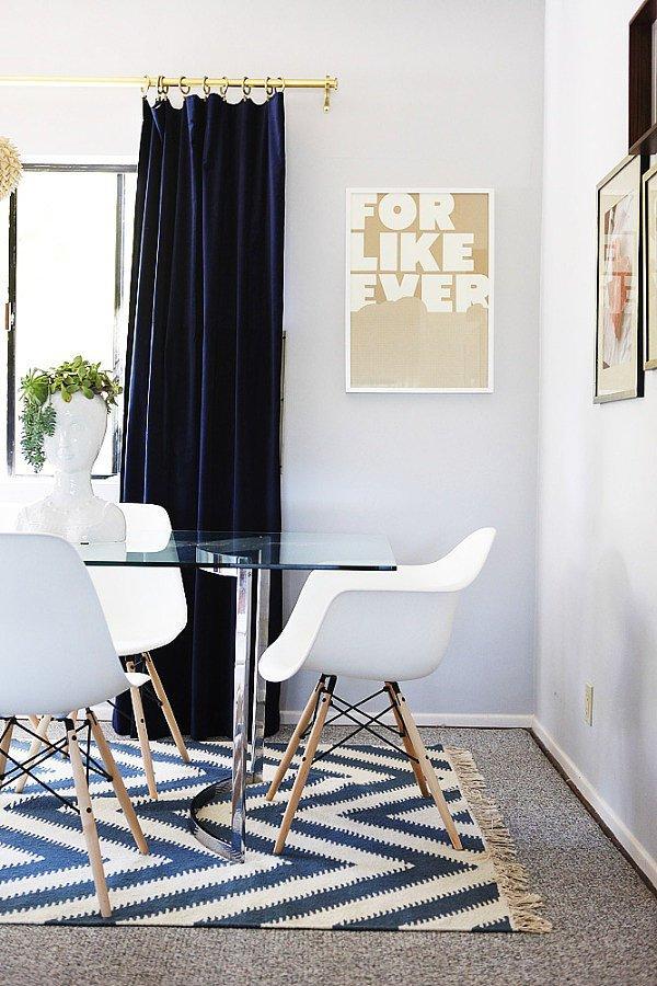 navy blue velvet curtains