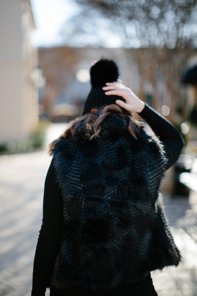 black faux fur vest // www.polishedclosets.com