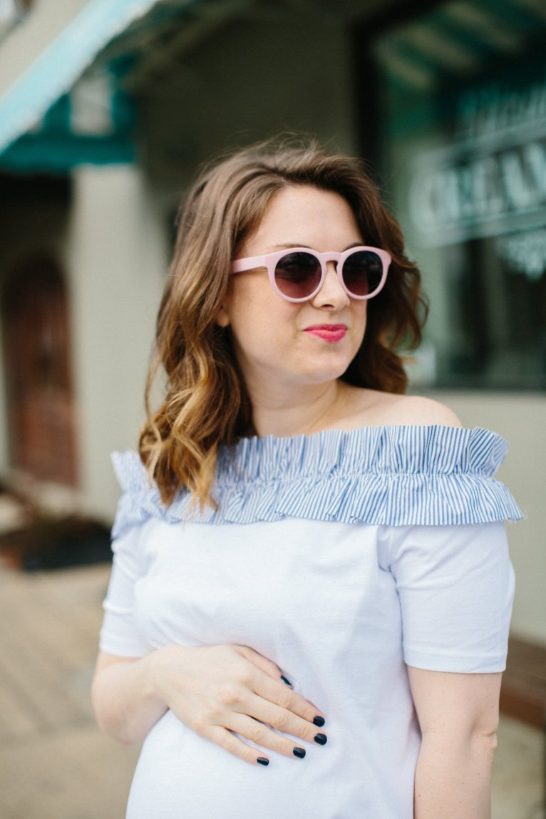 Off the Shoulder White Maternity Top by fashion blogger Maggie from Polished Closets