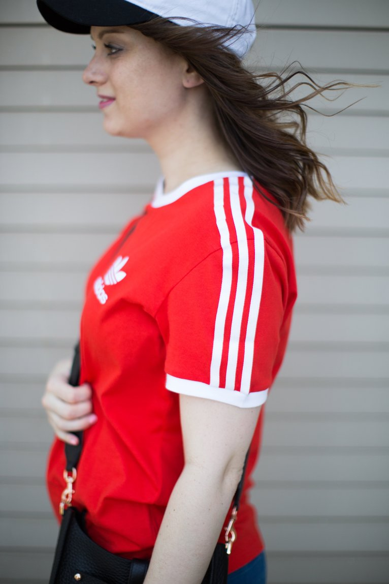 Athleisure with Adidas: The Classic Red Adidas Shirt by fashion blogger Maggie of Polished Closets