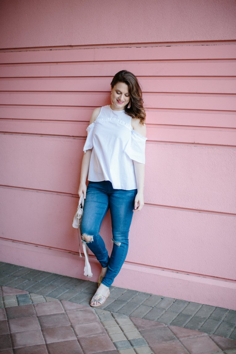 A Must-Have Top: The White Cold Shoulder Blouse by fashion blogger Maggie of Polished Closets