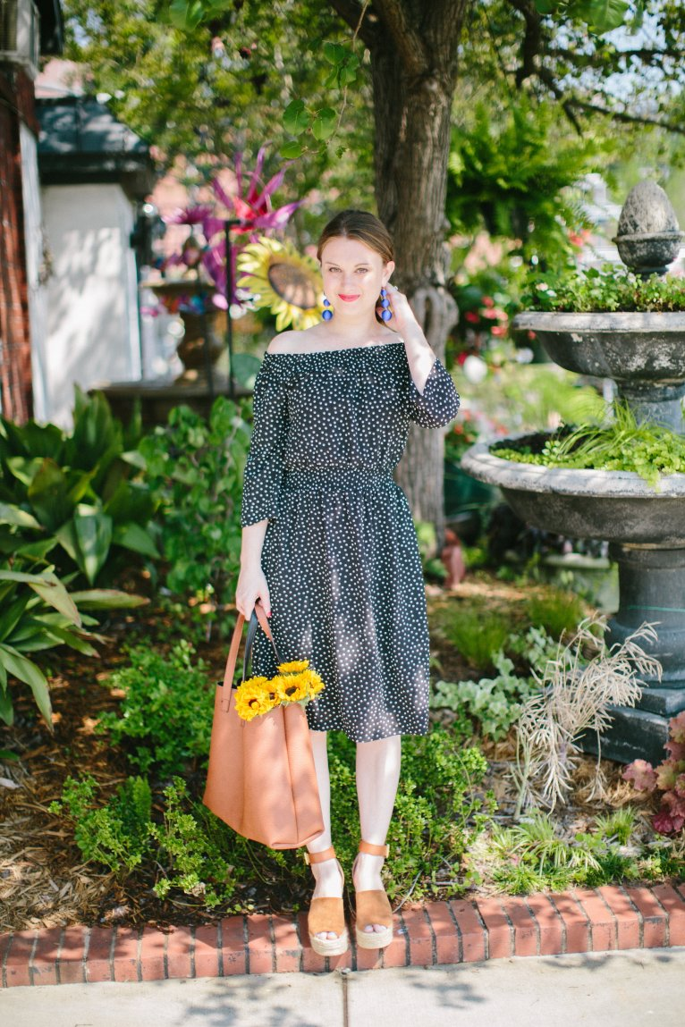 Navy Polka Dot Dress & How to Pick the Right Length Dress by fashion blogger Maggie of Polished Closets