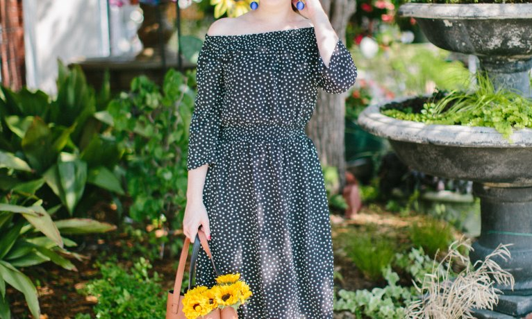 Navy Polka Dot Dress & How to Pick the Right Length Dress