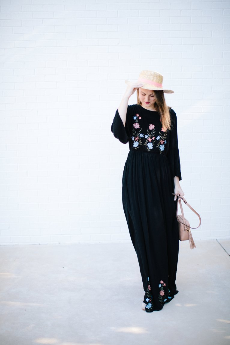 How to Style an Embroidered Maxi Dress for Summer and Fall by Fashion Blogger Maggie Kern of Polished Closets