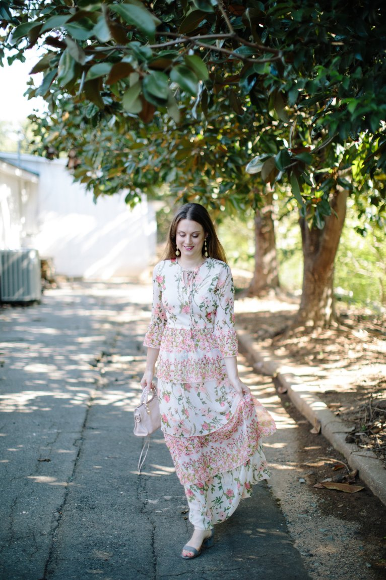 A pretty garden floral maxi dress for summer and fall styled by fashion blogger Maggie Kern of Polished Closets