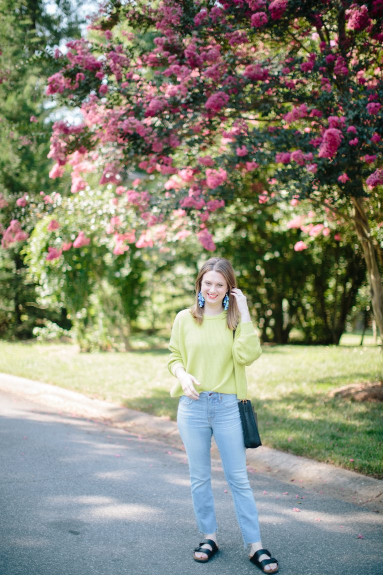 How to Wear Brights into Fall with a Neon Sweater Styled by Fashion Blogger Maggie Kern of Polished Closets