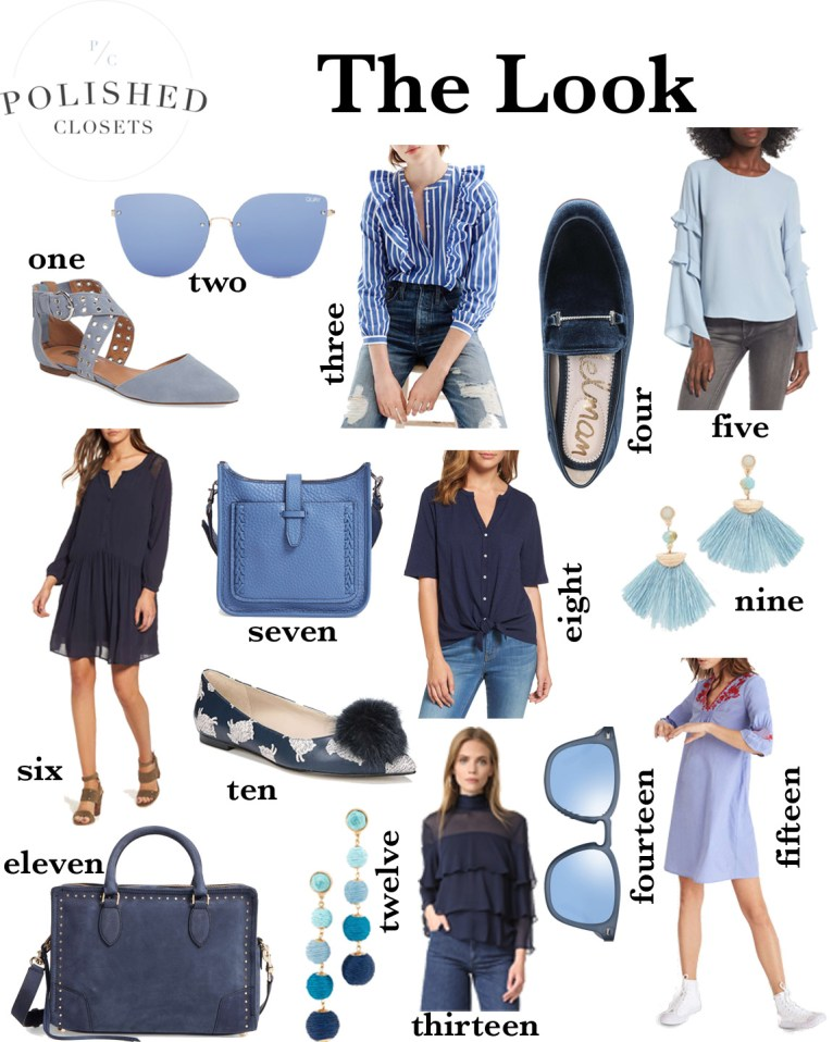 All things blue clothing curated by fashion and lifestyle blogger Maggie Kern of Polished Closets
