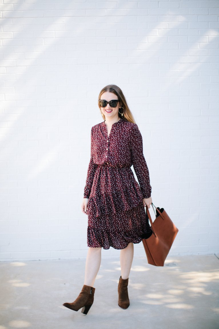The Perfect Dress for Work - A Ruffle Midi Dress Styled by Fashion Blogger Maggie Kern of Polished Closets.