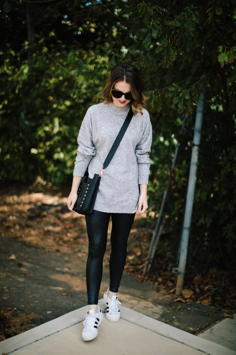 The only pair of faux leather leggings you need in your close this fall by Fashion and Lifestyle blogger Maggie Kern of Polished Closets.