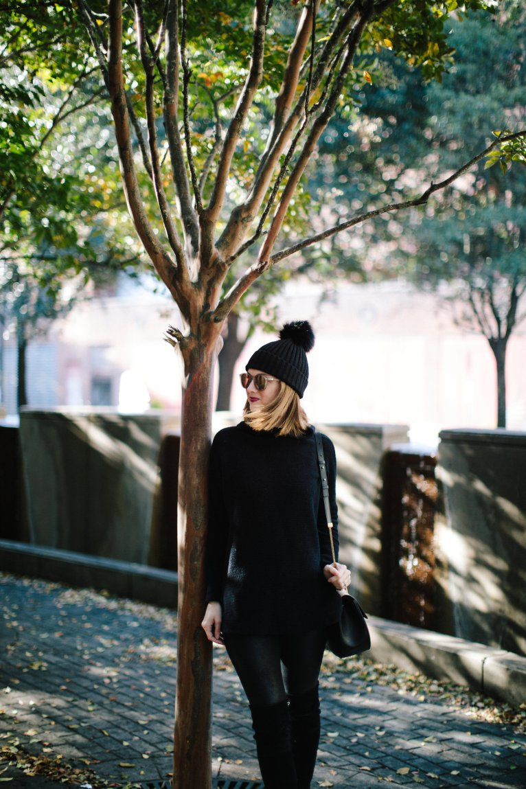 An easy-to-wear all black ensemble with the perfect sweater by Fashion Blogger Maggie Kern of Polished Closets.