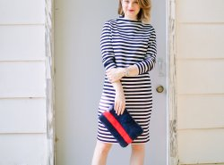 A Long Sleeve Striped Dress for Fall styled by Fashion Blogger Maggie Kern of Polished Closets.