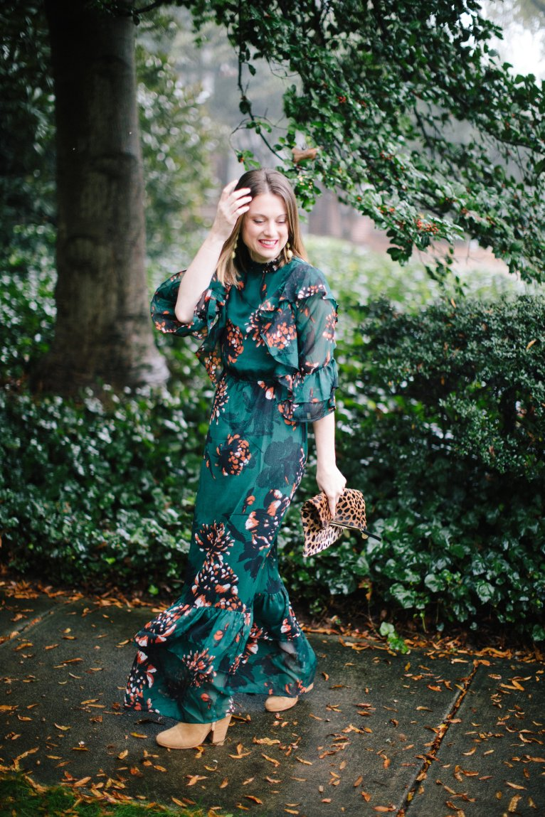 How to wear a winter floral dress for the holidays by fashion and lifestyle blogger Maggie Kern of Polished Closets.