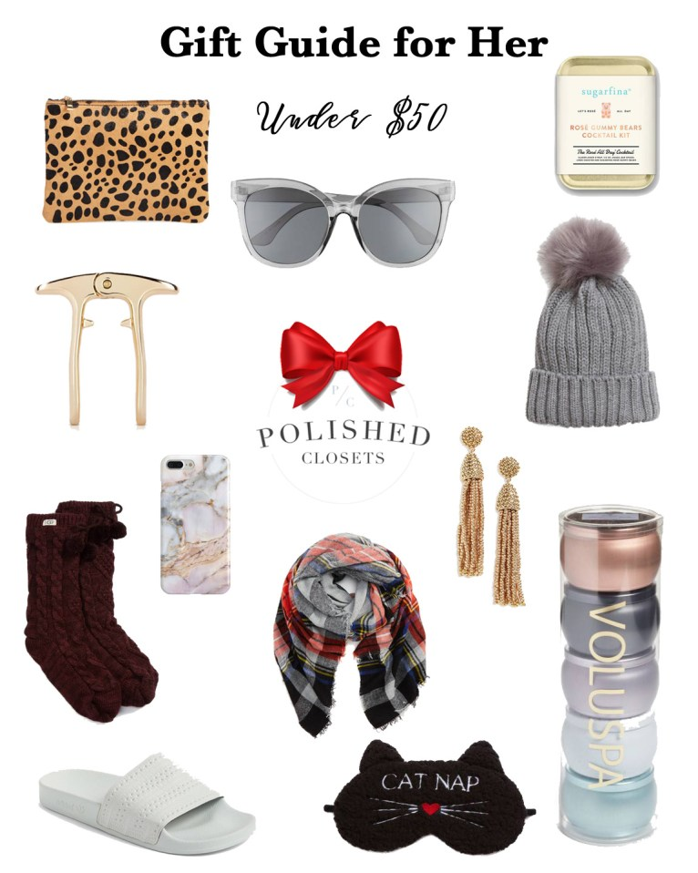 A holiday gift guide under $50 for the lady in your life! by fashion and lifestyle blogger Maggie Kern of Polished Closets