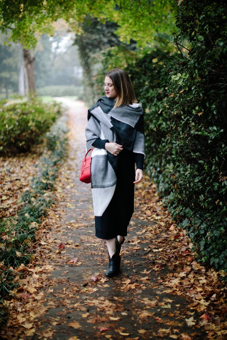 How to Style A Black Sweater Dress for Winter by Fashion and Lifestyle Blogger Maggie Kern of Polished Closets.