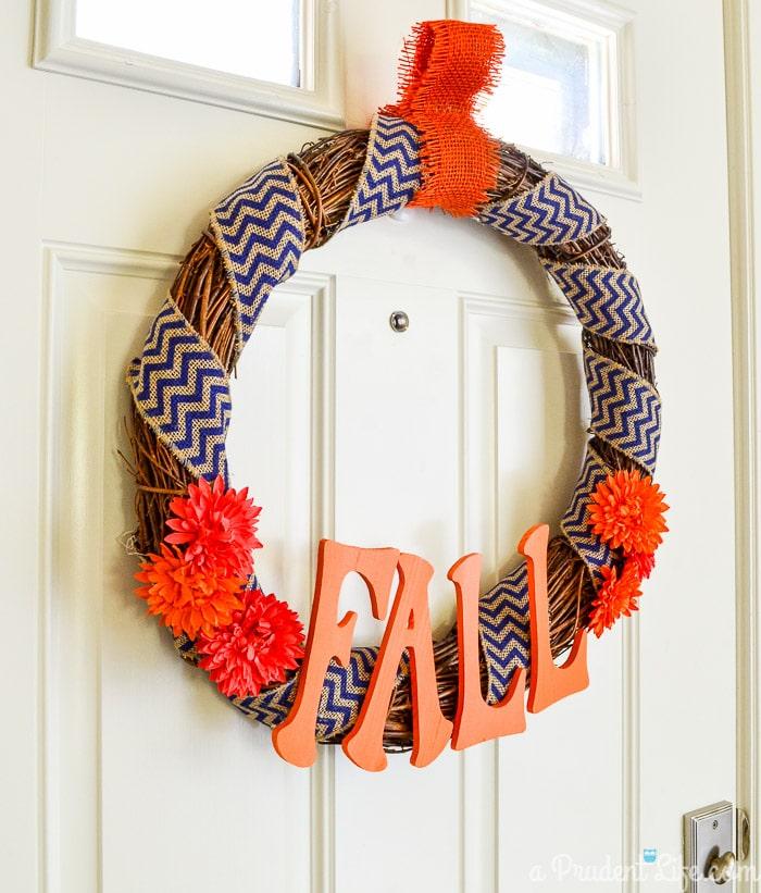 Navy & orange fall wreath