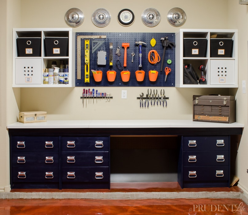 Finished IKEA Garage Work Bench Hack - Storage Drawers, Counter, Shelves & Pegboard for Tools