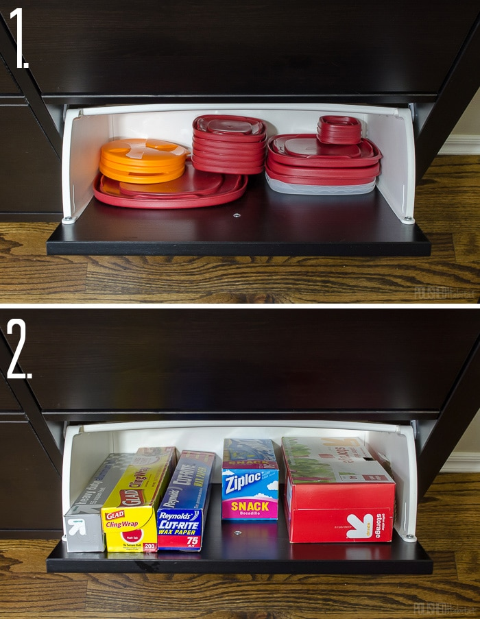 Use an IKEA shoe cabinet to add kitchen storage. Two of the fourteen ideas in this post are to use them for tupperware lids and food storage items. Click to see the other 12 ideas!