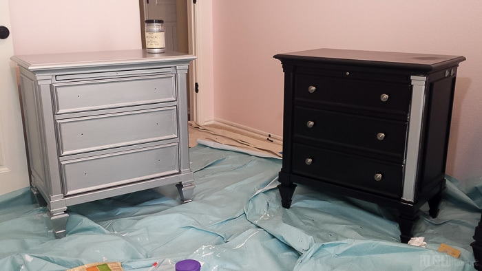 Our old furniture felt so heavy in the bedroom, but two coats of silver paint later, it shines!