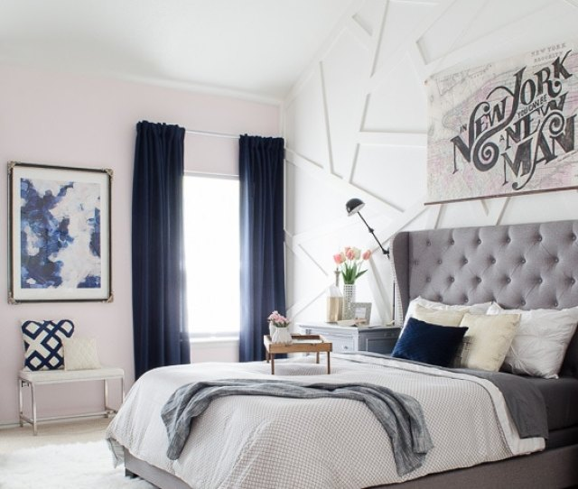 Modern Glam Bedroom With Gray Tufted Headboard Love The B Ding Of Modern And Glam With
