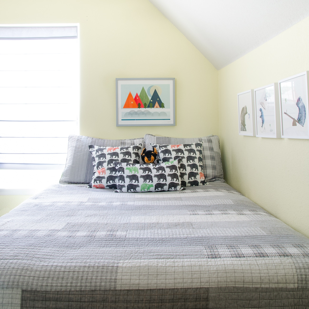Bear Pillows & Colorful Mountain Art in a Little Boys Camping Room
