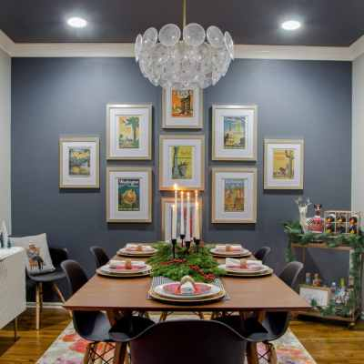 Sherwin Williams Web Gray wall & ceiling in a dining room, with West Elm Mid-Century Expandable Table & black Eames Chairs