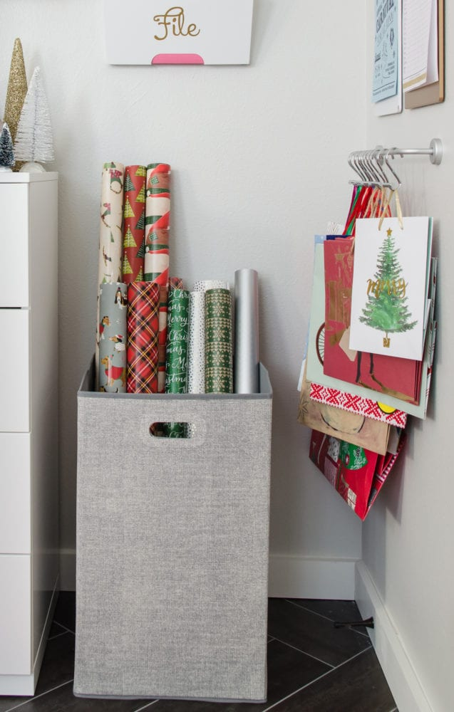 use square hamper to hold long gift wraps by polished habitat