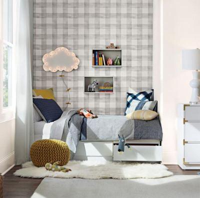 Gray Buffalo Check - Pre-pasted Wallpaper