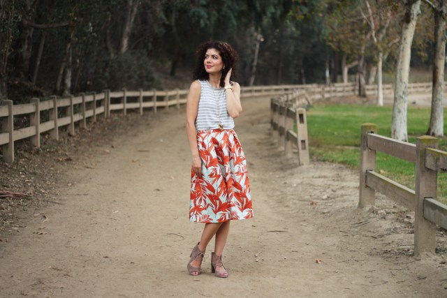 H&M tropical skirt pattern mixing with stripes