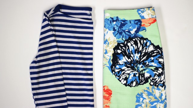 floral skirt print mix with blue striped tee