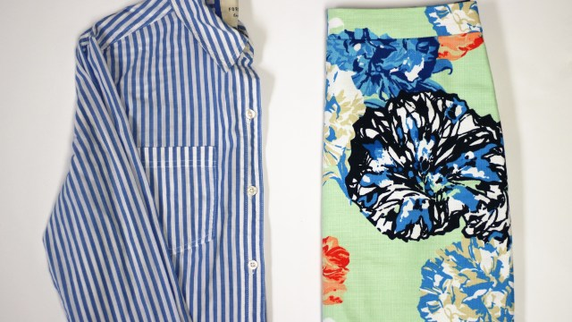floral skirt print mix with vertical striped button down shirt
