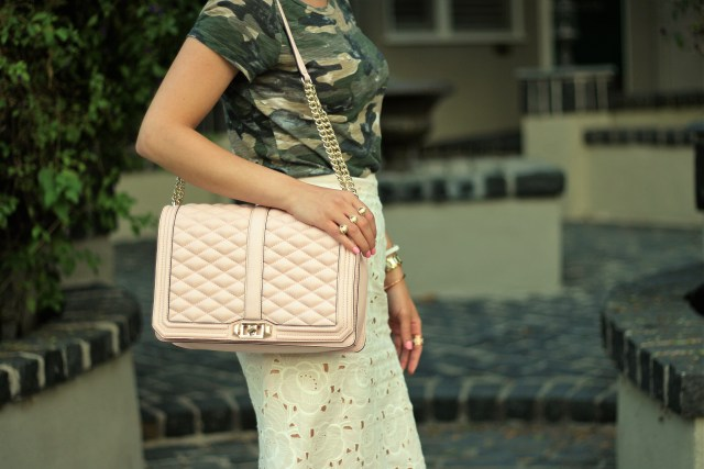 J Crew COLLECTION PENCIL SKIRT IN AUSTRIAN LACE paired with camouflage tee shirt with pink Rebecca Minkoff jumbo love bag and Baublebar ring