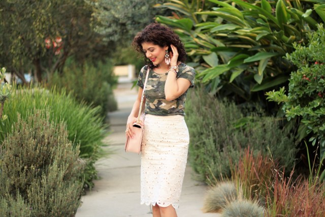 J Crew COLLECTION PENCIL SKIRT IN AUSTRIAN LACE paired with camouflage tee shirt pink accessories from baublebar and Rebecca Minkoff