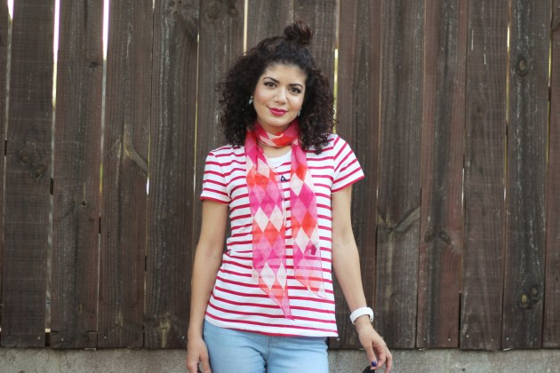 red white striped tee pink argyle skinny scarf